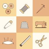 Set of thin needlework icons — Stock Vector