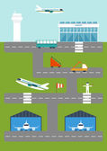 Vector illustration with airport — Stock Vector
