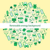 Background witg renewable energy icons — Stock Vector