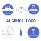 Set of alcohol logos — Vector de stock