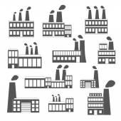 Set of black-white factory icons — Stockvektor