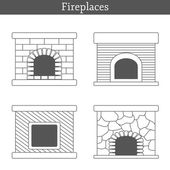 Set of templates with fireplaces — Stock Vector