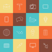 Set of thin journalism icons — Stock Vector