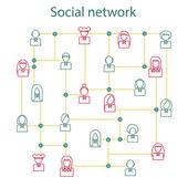 Vector illustration on social network theme — Stock Vector