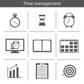 Set of simple time management icons — Stock Vector