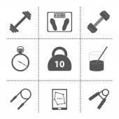 一套简单的健身房图标 — 图库矢量图片