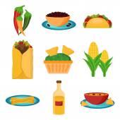 Set of cartoon mexican food — Stock Vector