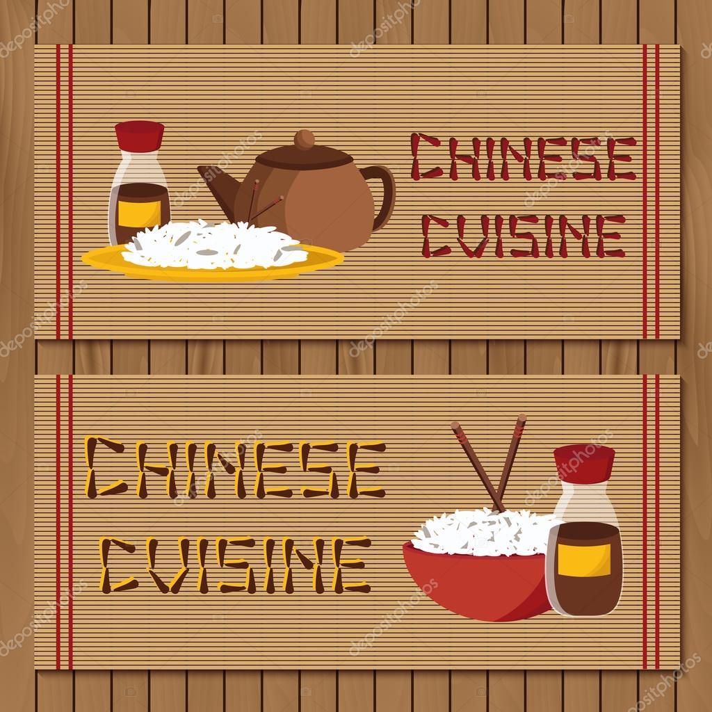 Sjabloon voor boekje, menu of folder met objecten op chinese ...