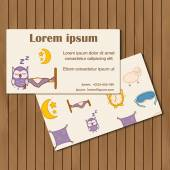 Template for booklet or card with hand drawn sleep objects — Stock Vector