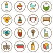 Set of hand drawn icons on baby care theme — Stock Vector #69830973