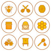 Set of hand drawn icons on beekeeping theme — Stock Vector