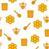 Seamless hand drawn background on beekeeping theme — Stockvektor