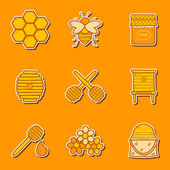 Set of hand drawn stickers on beekeeping theme — Stock Vector