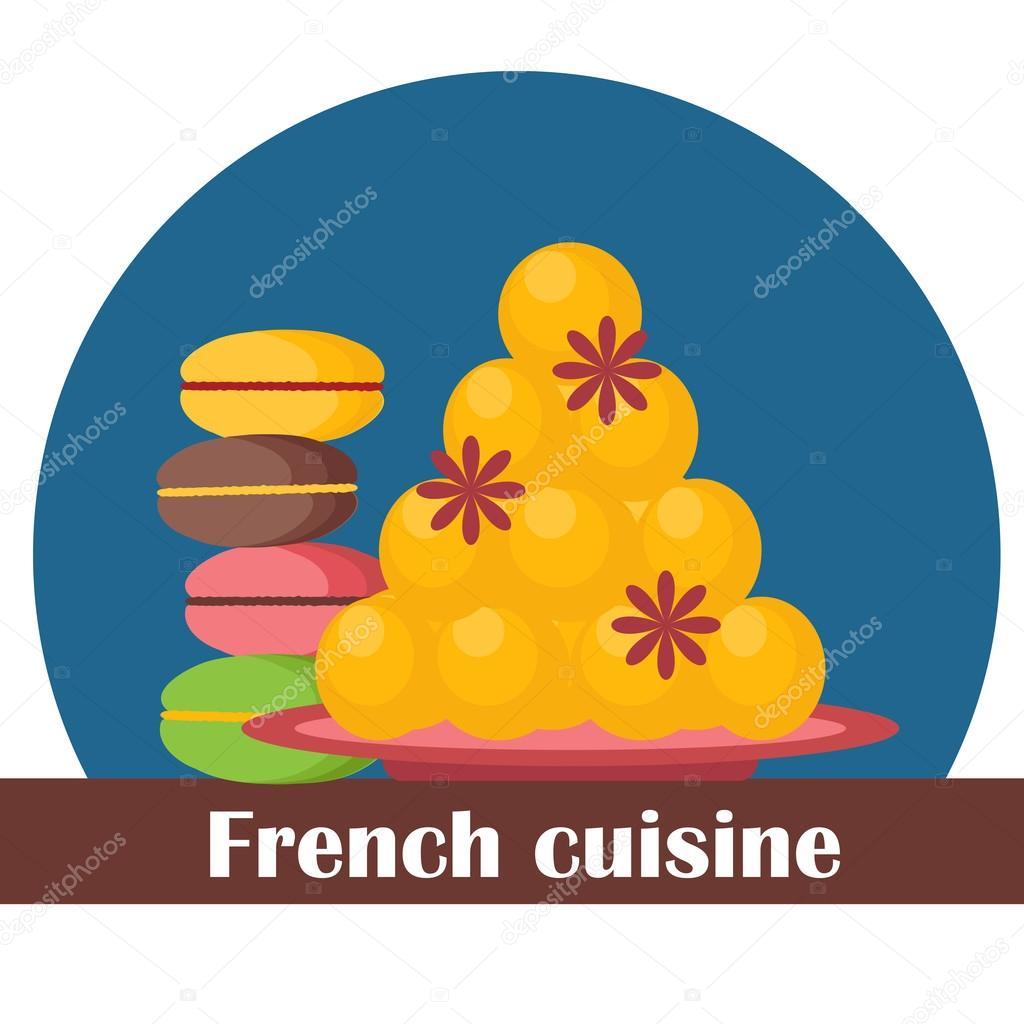 cartoon-illustration, auf französische küche design — stockvektor