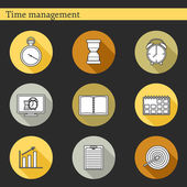 Set of flat time management icons — Stock Vector