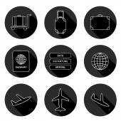 Set of hand drawn airport icons — Stock Vector