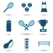 Set of hand drawn tennis icons — 图库矢量图片