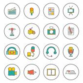 Set of hand drawn journalism icons — Stock Vector