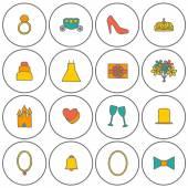 Set of hand drawn wedding icons — Stock Vector