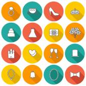 Set of hand drawn wedding icons — Stock Vector