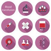 Uppsättning platt ikoner på blodtransfusion tema — Stockvektor