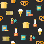 Seamless background on gluten products theme with flat objects: bread, pastry, pasta, beer, yogurt, ice cream, dry breakfast, ketchup and snack food — Stock Vector