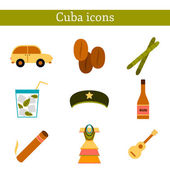 Set of flat colorful icons on Cuba theme — Stock Vector