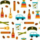 Seamless background with flat colorful objects on Cuba theme — Stock Vector