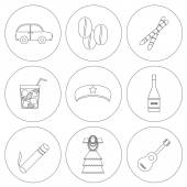 Set of outline icons on Cuba theme — Stock Vector