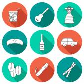 Set of flat outline icons with shadows on Cuba theme — Stock Vector