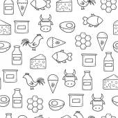 Seamless background with modern cute hand drawn outline objects with products containing animal protein and prohibited for vegans: milk, cheese, egg, yogurt, fish, ice cream, red meat, honey, poultry — Stock Vector