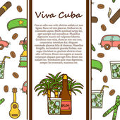Hand drawn moderm cuban culture travel  concept. Colorful cartoon elements — Stock Vector