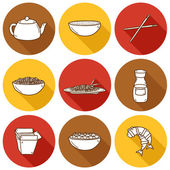 Set of cute modern hand drawn cartoon icons with shadow on chinese food theme — Stock Vector