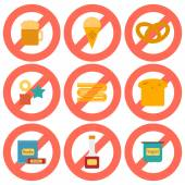 Set of flat icons with allergic gluten products — Stock Vector