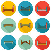 Set of simple cute cartoon colorful hand drawn bridge icons with shadows. City and travel concept — Wektor stockowy