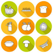 Set of modern outline icons with shadows in hand drawn style on vegan food theme — Stock Vector