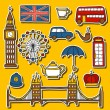 Set of cute hand drawn cartoon stickers on London theme: queen crown, red bus, big ben, umbrella, london eye, telephone box. Travel concept for site, card, map — Stock Vector #78237278