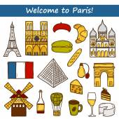 Set of cute hand drawn cartoon objects on Paris theme: eiffel tower, flag, moulen rouge, wine, croissant, macaroon. notre-dame. Travel concept for site, map, card — Stock Vector