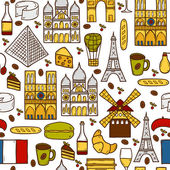 Seamless background with cute hand drawn cartoon shadow objects on Paris theme: eiffel tower, flag, moulen rouge, wine, croissant, macaroon. notre-dame. Travel concept for site, map, card — Stock Vector