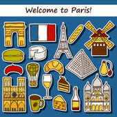 Set of cute hand drawn cartoon stickers on Paris theme: eiffel tower, flag, moulen rouge, wine, croissant, macaroon. notre-dame. Travel concept for site, map, card — Stock Vector
