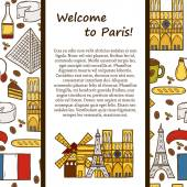 Vector travel concept with cute hand drawn cartoon objects on Paris theme: eiffel tower, flag, moulen rouge, wine, croissant, macaroon. notre-dame. Great for site, map, card — Stock Vector
