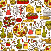 Seamless background with cute hand drawn cartoon objects on mediterranean cuisine theme: tomato, pasta, wine, cheese, olive, Ethnic food travel concept. Great for restaurant menu, card, site — Stock Vector