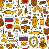 Seamless background with cute hand drawn objects on Russia theme: balalaika, vodka, bear, ushanka, matrioshka, rocket. Travel concept — Stock Vector