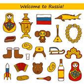 Set of hand drawn objects on Russia theme: balalaika, vodka, bear, ushanka, matrioshka, rocket. Travel concept — Stock Vector