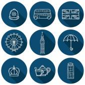 Set of cute hand drawn outline cartoon objects on London theme: queen crown, red bus, big ben, umbrella, london eye, telephone box. Travel concept for site, card, map — Stock Vector