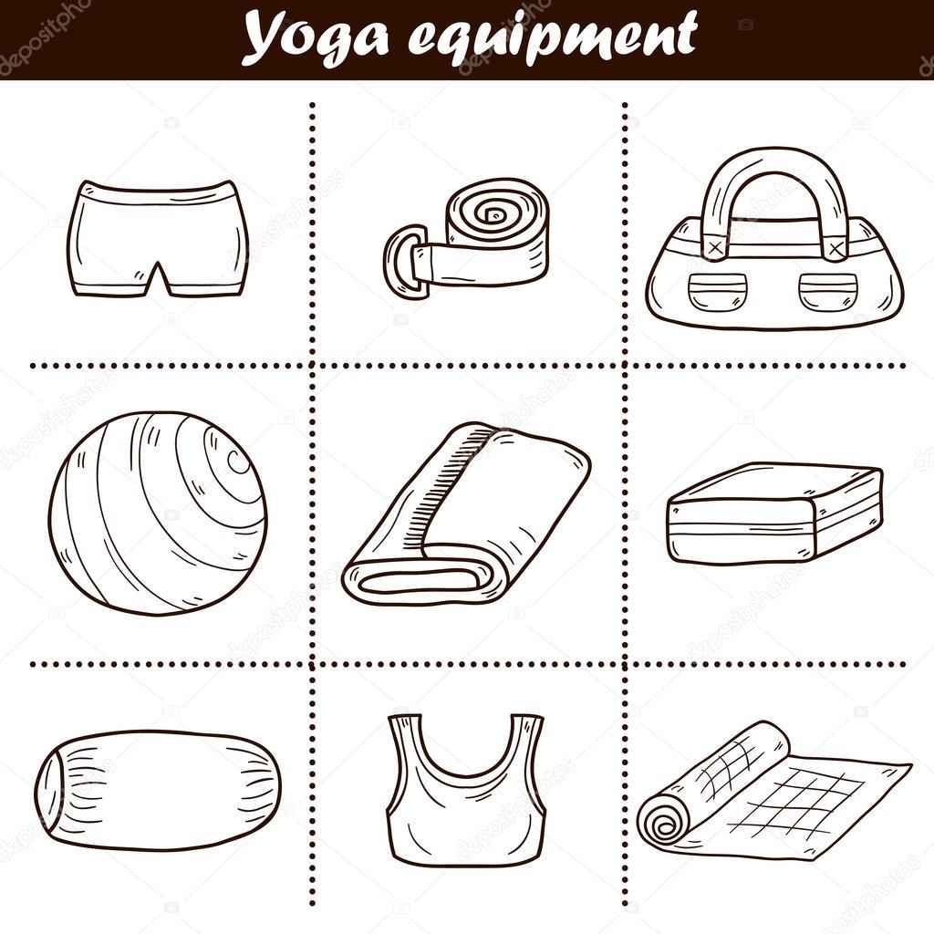 Reihe von Yoga-Ausrüstung-icons — Stockvektor © petitelili #85013694