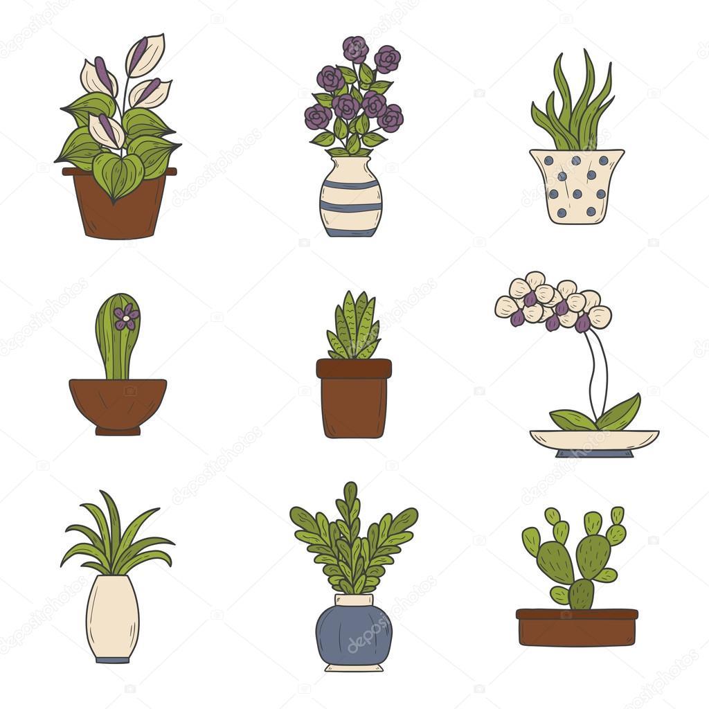 Iconos de dibujos animados de plantas de interior vector - Imagenes de plantas de interior ...