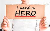 I need a hero text on cardboard — Stock Photo