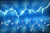 Stock market candlestick chart on blue background — Stock Photo