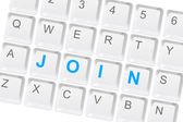 Join us keyboard buttons — Stock Photo